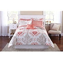 Teen-Girls-Pink-Coral-Damask-6-Piece-Comforter-Set Coral Bedding Sets and Coral Comforters