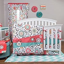 Trend-Lab-Waverly-Pom-Pom-Play-4-Piece-Crib-Bedding-Set-Coral Coral Bedding Sets and Coral Comforters