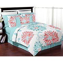 Turquoise-and-Coral-Emma-3-Piece-Childrens-Comforter-Set Coral Bedding Sets and Coral Comforters