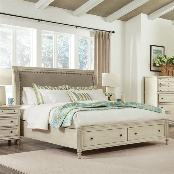 WaverleyUpholsteredSleighHeadboard Beach Bedroom Furniture and Coastal Bedroom Furniture