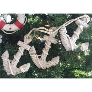 WoodenRusticDecorativeTripleAnchorChristmasOrnamentSetof3 Anchor Christmas Ornaments