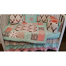 Woodland-1-to-4-Piece-baby-girl-nursery-crib-bedding-Quilt-Coral Coral Bedding Sets and Coral Comforters