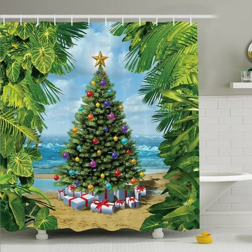 beach-christmas-shower-curtain Beach Christmas Decor and Nautical Christmas Decor 2020