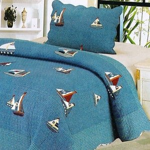 denim-boat-2-piece-nautical-quilt-set Nautical Quilts and Beach Quilts