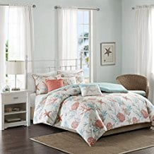 madison-park-pebble-beach-coral-duvet-cover-set Coral Bedding Sets and Coral Comforters