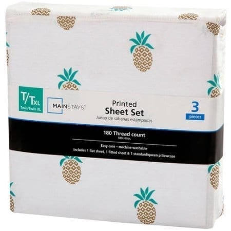 mainstays-pineapple-sheet-set 50+ Pineapple Bedding Sets, Quilts, and Duvet Covers