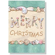 merry-christmas-in-seashells-card-18 Beach Christmas Cards and Nautical Christmas Cards