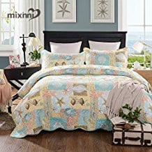 mixinni-Seashell-Beach-Bedding-Quilt-Set 100+ Nautical Quilts and Beach Quilts