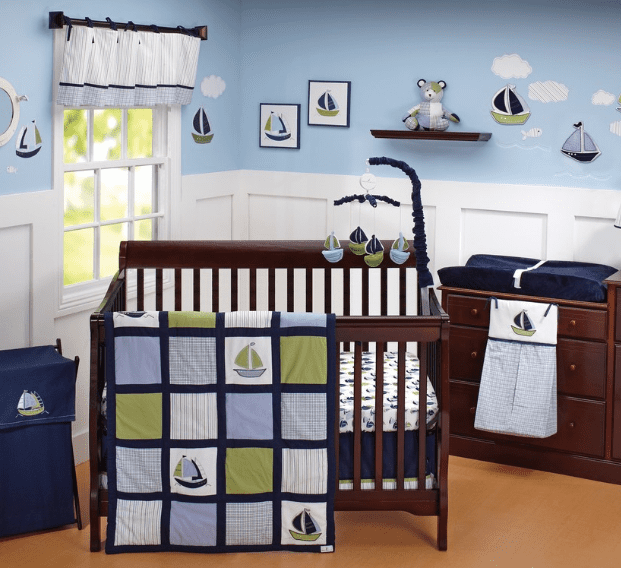 sailboats-and-porthole-mirror-nautical-nursery Nautical Crib Bedding & Beach Crib Bedding Sets
