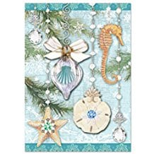 shell-ornament-glitter-christmas-cards-12 Beach Christmas Cards and Nautical Christmas Cards