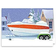 snowman-captain-speedboat-18 Beach Christmas Cards and Nautical Christmas Cards