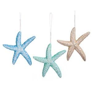 3PieceStarfishFoamShapedOrnamentSetSetof3 Starfish Christmas Ornaments