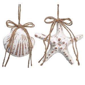 6PieceFoamShellandStarfishShapedOrnamentSetSetof8 Starfish Christmas Ornaments
