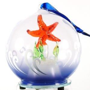 LightUpGlassStarfishOrnament Starfish Christmas Ornaments