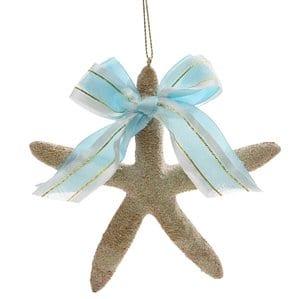 SeasandGreetingsStarfishwithBowTreeOrnament Starfish Christmas Ornaments