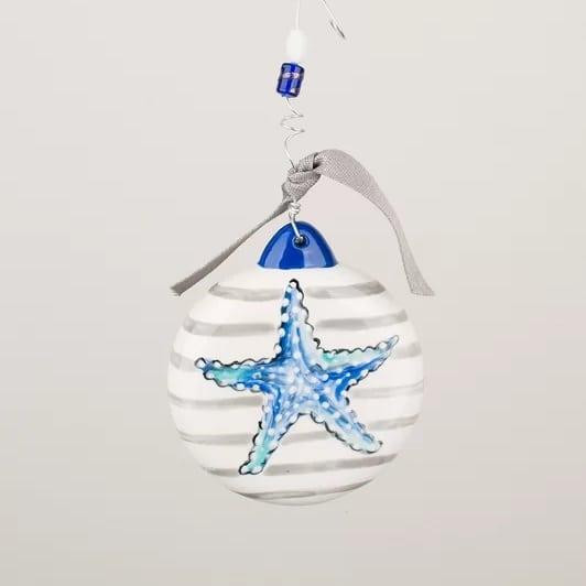 striped-starfish-puff-ball-ornament Starfish Christmas Ornaments