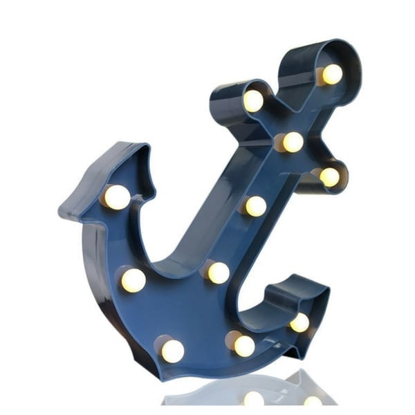 Anchor-Marquee-Light 100+ Nautical Anchor Decorations and Decor