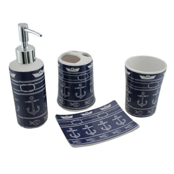 Anchor-Print-4-Piece-Ceramic-Bath-Accessory-Set Anchor Decor & Nautical Anchor Decorations