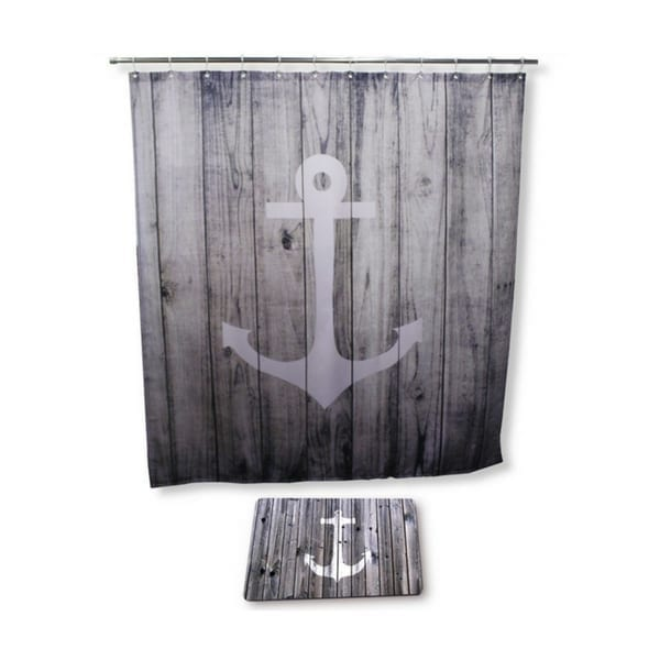Goodbath-Bathroom-Set-with-Shower-Curtain-and-Bath-Rugs-and-Accessories-Anchor-Design 100+ Nautical Anchor Decorations and Decor