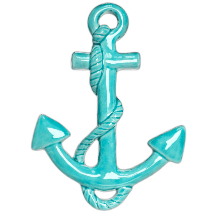 MayRich-Porcelain-Turquoise-Anchor-Wall-Accent 100+ Nautical Anchor Decorations and Decor