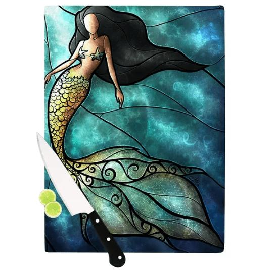 Mermaid-Cutting-Board Mermaid Home Decor