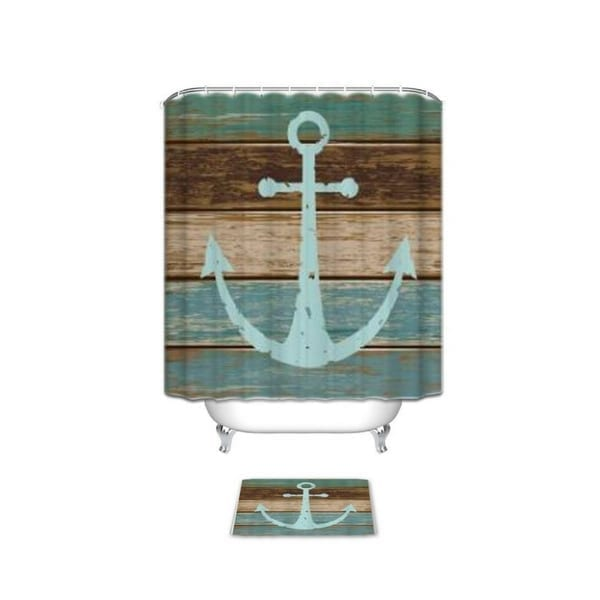 Nautical-Anchor-Rustic-Wood-Bathroom-Shower-Curtain Anchor Decor & Nautical Anchor Decorations