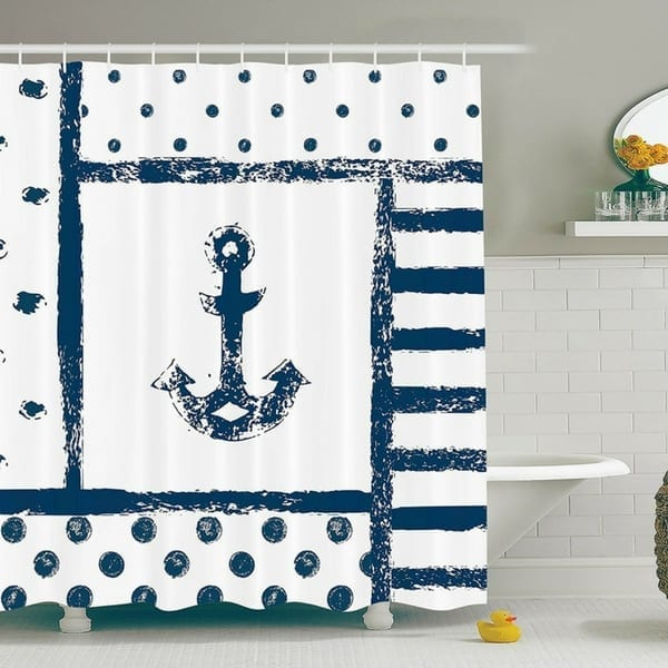 navy-white-anchor-shower-curtain-bathroom-decor 100+ Nautical Anchor Decorations and Decor