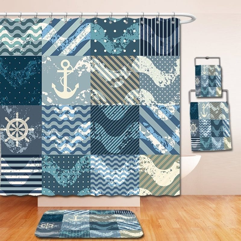 showercurtain-nautical-anchor-and-bath-rug-800x800 100+ Nautical Anchor Decorations and Decor