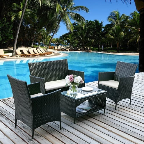 Merax 4pc Rattan Wicker Furniture Set Best Outdoor Wicker Patio Furniture