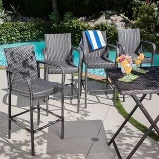 orren-ellis-damis-modern-outdoor-wicker-bar-stool-set-of-4 Wicker Bar Stools
