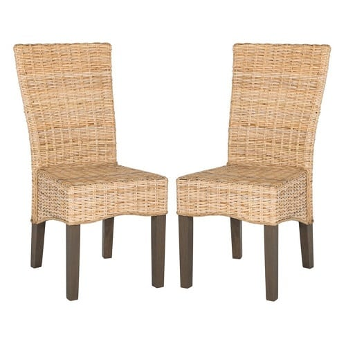 ozias-white-wash-wicker-dining-chair-set Best White Wicker Furniture