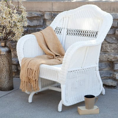 white-wicker-rocking-glider-chair Best White Wicker Furniture