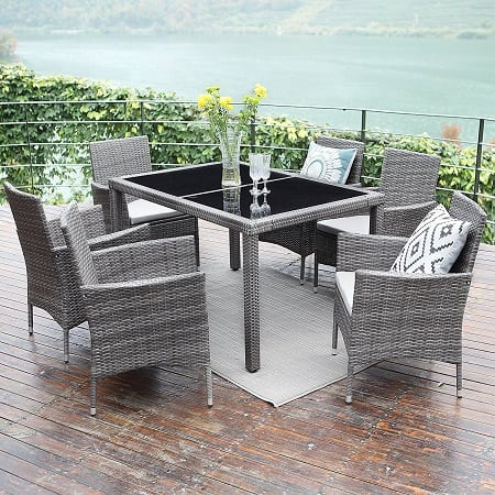 wisteria-lane-grey-wicker-dining-set Best White Wicker Furniture