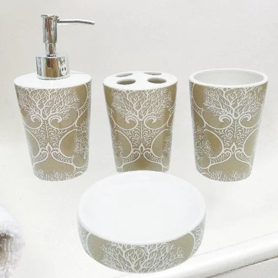 coral-bathroom-accessory-set Coral Decor
