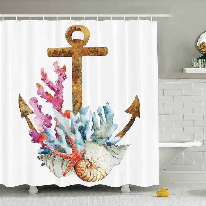 coral-white-shower-curtain Coral Decor
