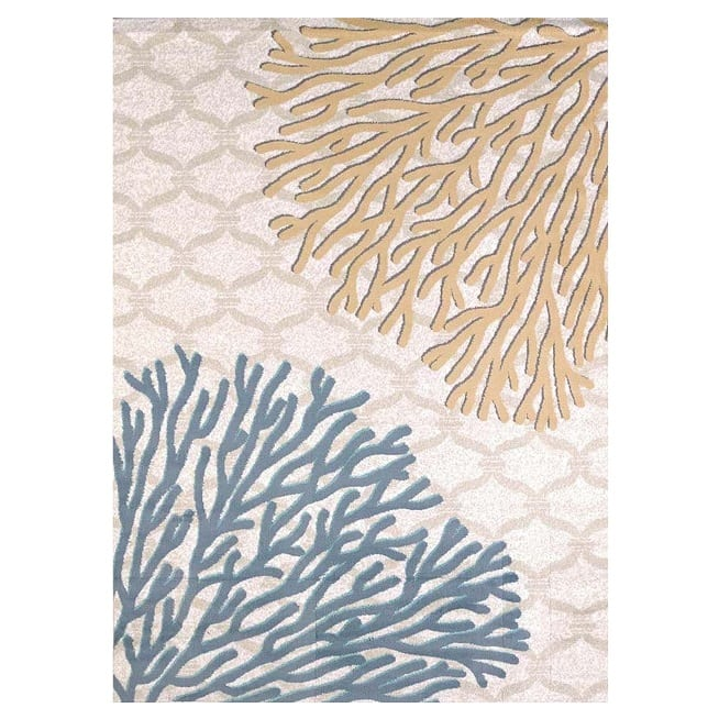 tan-and-blue-coral-area-rug Coral Decor