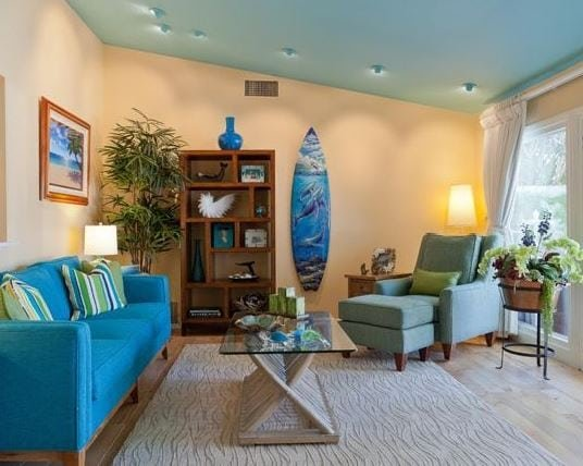 Coastal-Retreat-in-Woodland-Hills-by-Karen-Grace-Interiors Surf Decor & Surfboard Decorations