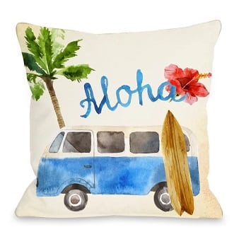 aloha-surf-van-throw-pillow Surf Decor & Surfboard Decorations