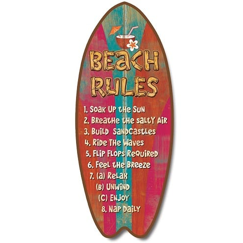 beach-rules-surfboard-plaque Surf Decor & Surfboard Decorations