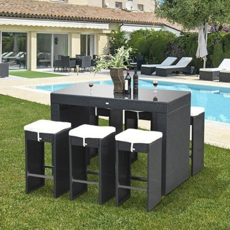 black-barstool-wicker-dining-set 100+ Black Wicker Patio Furniture Sets For 2020