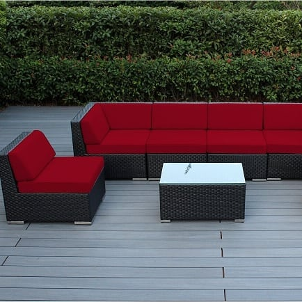 black-wicker-furniture-set-red-cushions 100+ Black Wicker Patio Furniture Sets For 2020