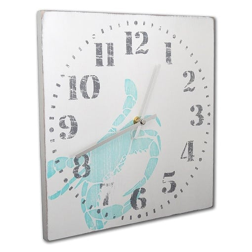 blue-crab-distressed-white-wall-clock Crab Decor & Crab Decorations