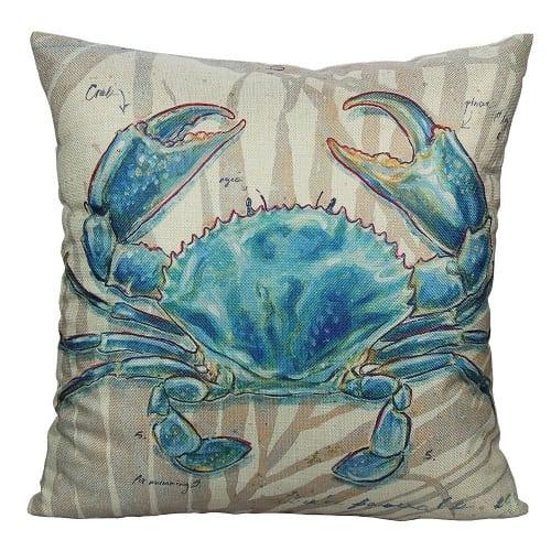 blue-crab-throw-pillow Crab Decor & Crab Decorations