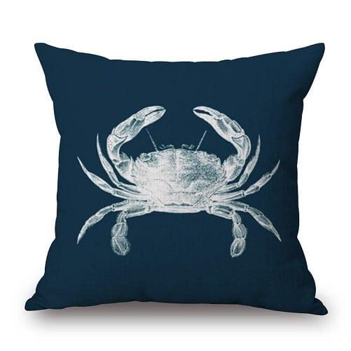blue-throw-pillow-white-crab Crab Decor & Crab Decorations