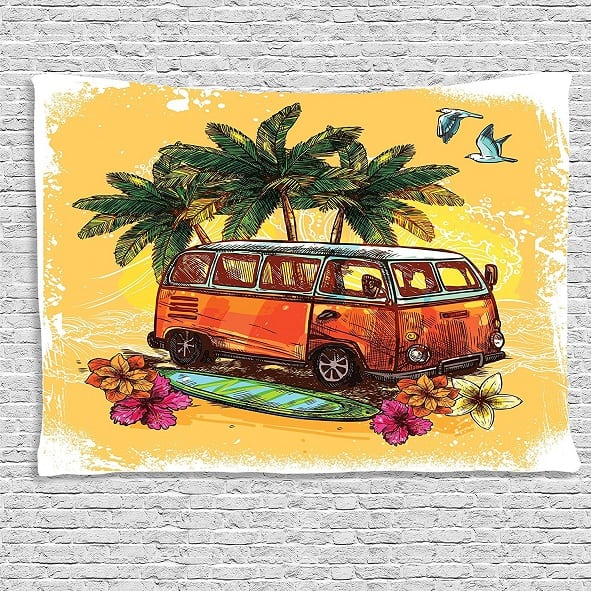 hippie-van-wall-tapestry-1 Surf Decor & Surfboard Decorations