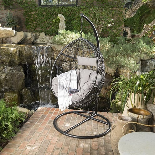leasa-outdoor-black-wicker-hanging-basket-chair Wicker Swings and Wicker Porch Swings
