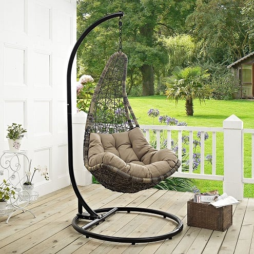 lexmod-patio-wicker-swing-chair-black-mocha Wicker Swings and Wicker Porch Swings