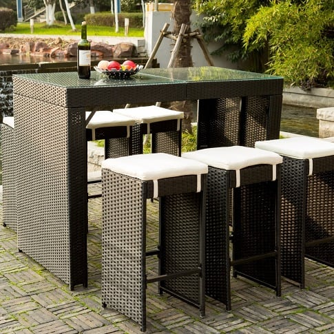 merax-barstool-dining-set 100+ Black Wicker Patio Furniture Sets For 2020