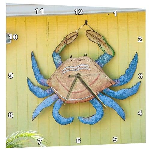 metal-crab-wall-decoration-clock Crab Decor & Crab Decorations