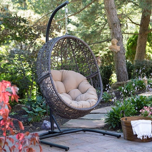 resin-wicker-espresso-hanging-egg-chair Wicker Swings and Wicker Porch Swings